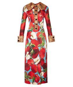 Dolce & Gabbana | Apple-Appliqué And Print Silk-Blend Dress