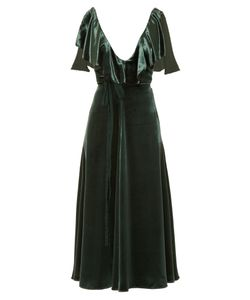 Valentino | Deep V-Neck Velvet Midi Dress