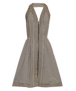 Isa Arfen   Halterneck Checked Cotton-Blend Dress