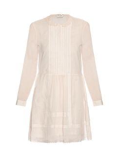 Saint Laurent | Lace-Panel Pintuck Pleated Dress