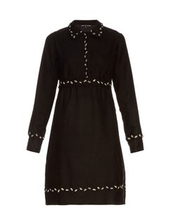 Jupe By Jackie   Ponselle Embroidered Point-Collar Wool Dress
