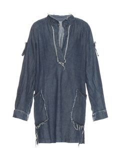 Raquel Allegra | Frayed-Edge Cotton-Chambray Dress