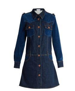 See By Chloe | Velvet-Panel Long-Sleeved Denim Dress