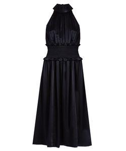 TRADEMARK   High-Neck Sleeveless Silk-Charmeuse Dress