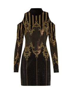 Balmain | High-Neck Embellished Velvet Dress