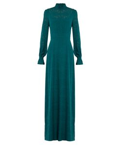 Saloni   Mary Long-Sleeved Fil Coupé Silk Gown