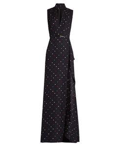 Elie Saab | V-Neck Polka-Dot Print Silk-Georgette Gown