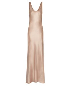 GALVAN | Scoop-Neck Sleeveless Silk-Satin Gown