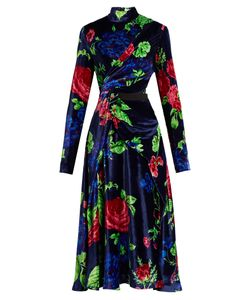MSGM | High-Neck Print Velvet Dress