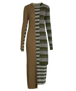 Maison Margiela | Striped Mixed-Knit Wool-Blend Dress