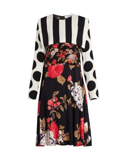 MSGM | Polka Dot And Stripe-Print Crepe Dress