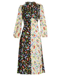 Duro Olowu | Abstract Bird-Print Tie-Neck Crepe Dress