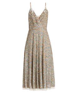 Valentino | Sequin-Embellished Sleeveless Midi Dress