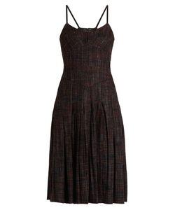 Bottega Veneta | Pleated Checked Wool-Blend Dress