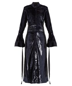 Ellery | Tie-Waist Velvet-Effect Dress