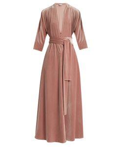 Luisa Beccaria | V-Neck Tie-Front Velvet Dress
