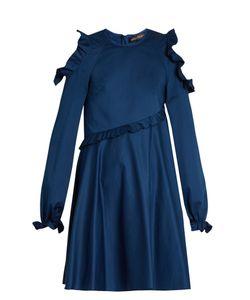 ANNA OCTOBER | Cold-Shoulder Long-Sleeved Ruffled Dress