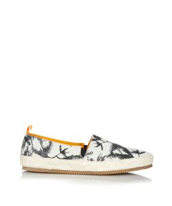MULO | Palm Tree-Print Brushed-Leather Espadrilles
