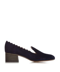 Chloe | Lauren Scallop-Edged Suede Loafers