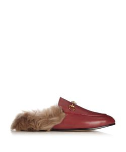 Gucci | Princetown Fur-Lined Leather Backless Loafers