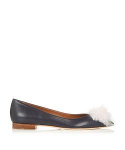 MALONE SOULIERS | Penny Cashmere-Pompom Leather Flats