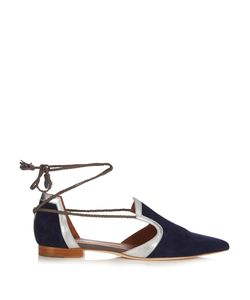 MALONE SOULIERS | Haji Lace-Up Suede Flats