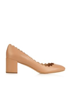 Chloe | Lauren Scallop-Edged Leather Pumps
