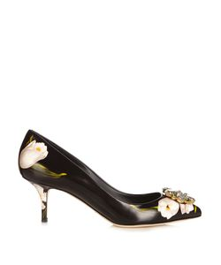 Dolce & Gabbana | Crystal-Embellished Tulip-Print Leather Pumps