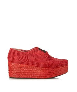 Robert Clergerie | Pinto Woven-Raffia Lace-Up Flatform Shoes