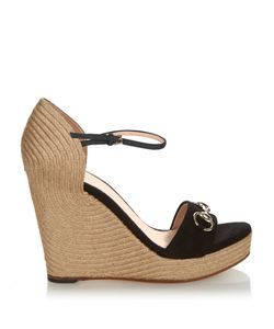 Gucci | Carolina Horsebit Suede Wedge Sandals
