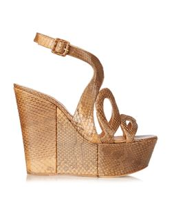 Alexa Wagner | Ayers Cut-Out Snakeskin Wedges