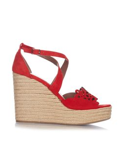 Tabitha Simmons | Laser-Cut Suede Wedge Sandals