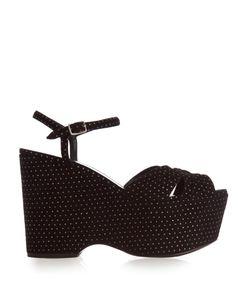 Saint Laurent | Candy Polka-Dot Suede Wedge Sandals
