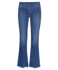 Stella Mccartney | Star-Distressed Cropped Kick-Flare Jeans