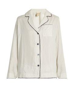 MORPHO + LUNA | Cara Pinstriped Silk-Satin Pyjama Shirt