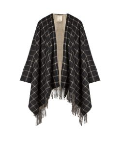 MORPHO + LUNA | Lupo Windowpane-Checked Cashmere Poncho