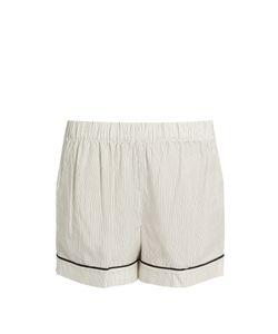 MORPHO + LUNA   Thea Pinstriped Silk-Satin Pyjama Shorts