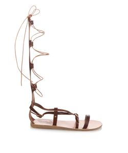 ANCIENT GREEK SANDALS | Sofia High Gladiator Lace-Up Leather Sandals