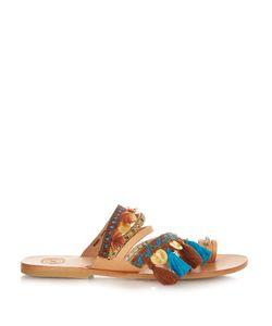 ELINA LINARDAKI | Marrakesh Embellished Leather Flat Sandals
