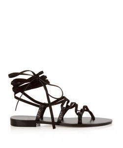 Saint Laurent   Nu Pieds Lace-Up Suede Sandals