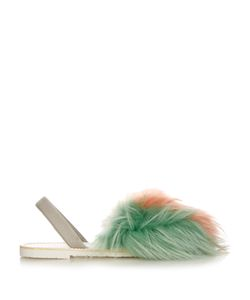 DEL RIO LONDON | Tri-Colour Raccoon-Fur Sandals