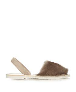 DEL RIO LONDON | Slingback Mink-Fur Sandals
