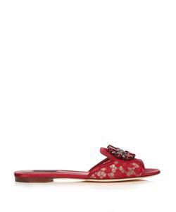 Dolce & Gabbana | Bianca Crystal-Embellished Lace Slides