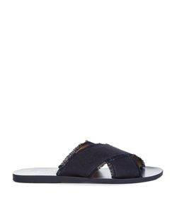 ANCIENT GREEK SANDALS | Thais Leather And Denim Sandals