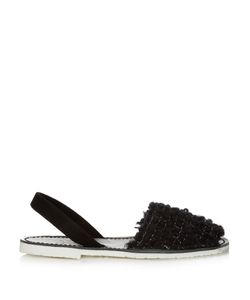 DEL RIO LONDON | Metal-Checked Wool And Leather Sandals