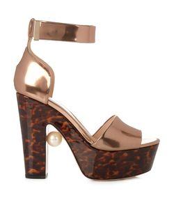 Nicholas Kirkwood | Maya Pearl-Embellished Block-Heel Sandals