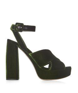 Miu Miu | Velvet Block-Heel Platform Sandals