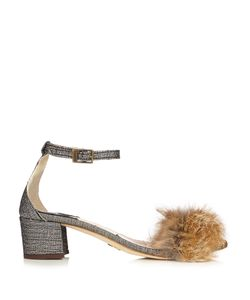 BROTHER VELLIES | Tufted Dhara Brocade And Fox-Fur Sandals