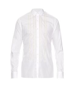Lanvin | Button-Cuff Pleated Cotton-Poplin Shirt