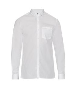 Lanvin | Button-Cuff Embroidered Collar Cotton Shirt